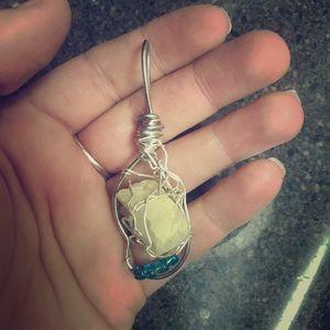 Aquamarine rough stone pendant